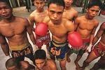 Muay Thai, Thai Kick Boxing; young boxers at training camp in Bangkok