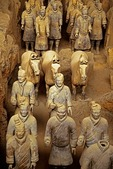 China:  Terra cotta soldiers and horses in Pit # 1 of excavations of Emperor Qin Shi Huang tomb, Qin Shi Huangdi Museum, in Xian