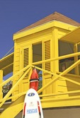 Browne's Beach lifeguard tower on Carlisle Bay at Bridgetown on island of Barbados