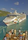 Caribbean cruise ship Norwegian Dawn of the Norwegian Cruise Line leaving port at Tortola