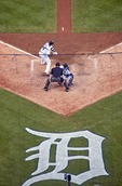 Detroit Tigers all-star Miguel Cabrera hitting against Seattle Mariners in Comerica Park in Detroit