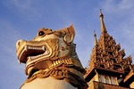 Yangon's Shwedagon Pagoda lion at entrance