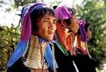 "Padaung women (aka ""giraffe ladies"") wearing rings around their necks since childhood in Kaung Dine village, Inle Lake, Shan State"