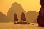 Vietnam tourist junk on Halong Bay in Gulf of Tonkin