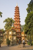 Hanoi's Tran Quoc Buddhist Pagoda with funeary monuments on island in West Lake
