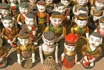 Vietnamese water puppets in gift shop at Van Mieu Temple of Literature in Hanoi