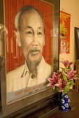 Portrait of Ho Chi Minh at Vinh Trang Pagoda Buddhist temple at My Tho in the Mekong River Delta