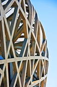 Detail of China National Stadium, the Birds Nest's, structural steel architecture, site of 2008 Summer Olympics in Beijng