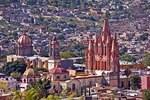 San Miguel de Allende's gothic spires of La Parroquia de San Miguel Arcangel (Church of St. Michael the Archangel), at right, with Templo de la Concepcion (Immaculate Conception Church), behind to the left