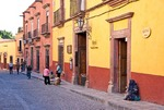 San Miguel de Allende's colorful Cuna de Allende street of cobble stones near El Jardin central square