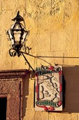 San Miguel de Allende lamp and sign for Bella Italia Restaurante near El Jardin central square
