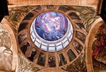 "Fresco murals by Jose Clemente Orozco, including ""The Man in Flames"" on dome, at Guadalajara's Cabanas Cultural Institute"