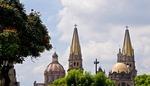 Spires of Guadalajara's Metropolitan Cathedral Templo Santa Maria de Gracia resembling calle lillies