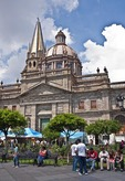 Guadalajara's Metropolitan Cathedral Templo Santa Maria de Gracia from Plaza de Armas