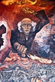 Father Miguel Hidalgo depicted in 1937 fresco mural by Jose Clemente Orozco above staircase of the Government Palace in Guadalajara