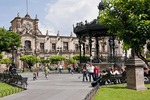 Guadalajara's Plaza de Armas and Palacio de Gobierno (Government Palace) with iron pavilion from Paris at right