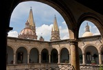 Spires of Guadalajara's Metropolitan Cathedral Templo Santa Maria de Gracia from courtyard of Government Palace (Palacio de Gobierno)