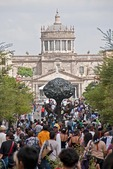 View down Guadalajara's crowded seven block long Plaza Tapatia toward Cabanas Cultural Institute