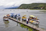 Lake Chapala boaters at dock in town of Chapala