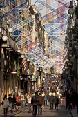 Barcelona's Calle de Ferran passageway from Las Ramblas to Placa Reial decorated early for Christmas with hexagonal ornaments