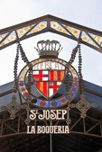 Barcelona's Mercat de Sant Josep de la Boqueria, sign at entrance to the public market on Las Ramblas