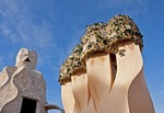Antoni Gaudi sculpture on roof of La Pedrera Museum in Barcelona