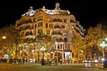 Antoni Gaudi's La Pedrera (Casa Mila) museum in Barcelona at night