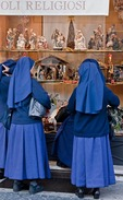 Rome religious articles shop near Vatican with nuns window shopping