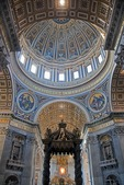 Vatican's St. Peter's Basilica with Papal alter and Baldacchino by Bernini below Michelangelo's dome