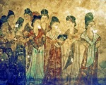 Palace Ladies, detail of a wall mural in the tomb of Li Xianhui, Tang dynasty Princess Yongtai, found in Qianling Mausoleum