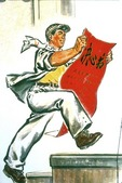 Art of Social Realism: A Worker posting a dazibao, big character poster during Great Proletarian Cultural Revolution in early 1970s