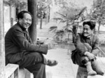 Mao Zedong with his eldest son Anying at Fragrant Hills near Beijing, April 1949