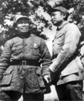 Communist military leaders Peng Dehuai, on right, and Zhu De, left, in late 1930s