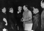 "Chairman Mao Zedong with Chinese Communist Party leaders, from left to right, Premier Zhou Enlai, Chen Yun, Liu Shaoqi, Deng Xiaoping, and Peng Zhen, in famous January, 1962, meeting of CCP Central Committee called ""The 7,000 Cadres Conference."""