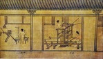 Scroll showing spinning of silk and weaving loom (third of series of four on silk production)