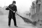 Early morning street sweeper in Nanjing in 1981