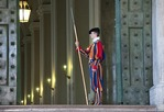 Swiss Guard in ceremonial dress uniform at St. Peter's Basilica
