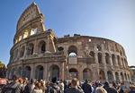 The Colosseum in Rome with tourists