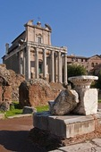 Baroque Church of San Lorenzo in Miranda in ruins of the Roman Forum in Rome