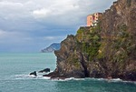 Cinque Terre National Park, rocky cliff at Manarola on Ligurian Coast of Mediterranean Sea