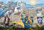 Cinque Terre National Park, mural at Riomaggiore commemorating generations of unsung heroes who built and maintained local landscape and culture