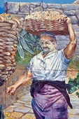 Cinque Terre National Park, mural detail of woman harvesting grapes at Riomaggiore
