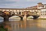 Ponte Vecchio, medieval bridge on Arno River in Florence.