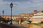 Ponte Vecchio, medieval bridge on Arno River in Florence.