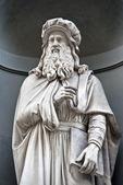 Leonardo da Vinci statue in front of Uffizi Gallery near Piazza della Signoria in Florence