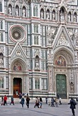 Florence's Cathedral of Santa Maria del Fiore, detail of front facade.