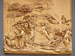 Florence's Baptistry of Saint John door panel, Gates of Paradise, depicting Adam and Eve by Lorenzo Ghiberti, on east portal.