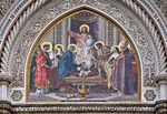 Florence's Basilica di Santa Maria del Fiore, mosaic in the lunette over main entrance of Christ Enthroned with Mary and John the Baptist, by Niccolo Barabino.