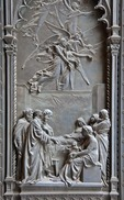 Florence's Basilica di Santa Maria del Fiore detail of bronze door of right portal depicts scene from life of Mary.