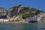 Amalfi coast with village of Amalfi a foot of Monte Cerreto